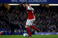 Calum Chambers of Arsenal in action. Carabao Cup , semi final 1st leg match, Chelsea v Arsenal at Stamford Bridge in London on Wednesday 10th January 2018.<br /> pic by Steffan Bowen, Andrew Orchard sports photography.