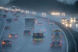 ©Licensed to London News Pictures 09/01/2020<br /> Swanley ,UK Heavy rain this afternoon on the M25 at junction 3 for Swanley in Kent as The Met Office has warned that downpours and strong winds will make driving conditions difficult. Photo credit: Grant Falvey/LNP