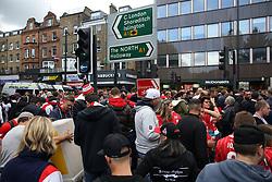 14 September 2017 -  UEFA Europa League (Group H) - Arsenal v FC Koln - FC Koln fans congregate in numbers on an Islington Street - Photo: Mark Leech/Offside