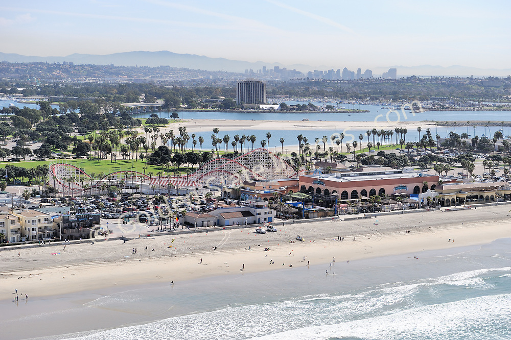 Belmont Park Roller Coaster with the San Diego skyline. <br /> <br /> Aerial Photo.