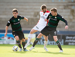 Raith Rovers Kevin Moon, Falkirk's Rory Loy and Raith Rovers Paul Watson.<br /> Raith Rovers 0 v 0 Falkirk, Scottish Championship game played 27/9/2014 at Raith Rovers Stark Park.