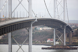 Pics of the closed Forth Road bridge.  Looking towards span in the middle, North tower on right.