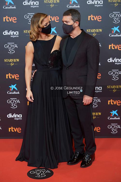 Antonio Banderas, Maria Casado attends 35th Goya Cinema Awards 2021 - Red Carpet at Gran Hotel Miramar on March 6, 2021 in Malaga, Spain