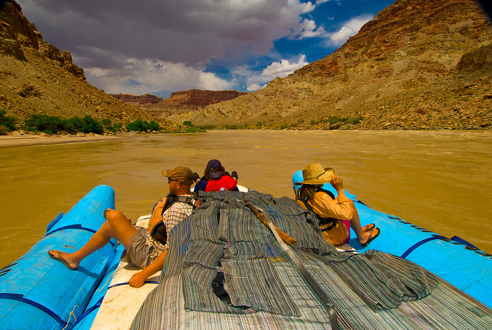 A Wilderness River Adventures motorized pontoon rafting through whitewater rapids, Cataract Canyon, the Colorado River in Canyonlands National Park, Utah, USA.