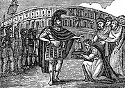 Belisarius (505-565) Byzantine general under Justinian I. Belasarius refusing the crown of Italy offered to him by the Goths in 540. Woodcut published New York 1830.
