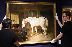 """Bonhams, Mayfair, London, February 26th 2016. Gallery technicians hang """"Old Friends"""" by by one of the 19th century's most skilled painters of horses, John Frederick Herring and is anticipated to fetch between £80-100,000 at the Bonhams 19th Century Art Sale in Mayfair, London on March 2nd 2016. ///FOR LICENCING CONTACT: paul@pauldaveycreative.co.uk TEL:+44 (0) 7966 016 296 or +44 (0) 20 8969 6875. ©2015 Paul R Davey. All rights reserved."""