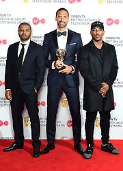 Rio Ferdinand (centre) with his award for the Single Documentary alongside Noel Clarke (left) Ashley Walters (right) in the press room at the Virgin TV British Academy Television Awards 2018 held at the Royal Festival Hall, Southbank Centre, London.