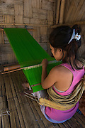 Hill Miri woman weaving<br /> Lower Subansiri District<br /> Arunachal Pradesh<br /> North East India