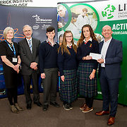 27.04.2016.          <br />  Kalin Foy and Ciara Coyle win SciFest@LIT<br /> Kalin Foy and Ciara Coyle from Colaiste Chiarain Croom to represent Limerick at Ireland's largest science competition.<br /> <br /> John The Baptist Community School students, Jake Thompson, Chelsea Collins and Caoimhe Lynch's project, Protect your sight in a UFC fight, won Physical Sciences Intermed/senior first.  Jake Thompson, Chelsea Collins and Caoimhe Lynch are pictured with George Porter, SciFest and Brian Aherne, Intel<br /> <br /> Of the over 110 projects exhibited at SciFest@LIT 2016, the top prize on the day went to Kalin Foy and Ciara Coyle from Colaiste Chiarain Croom for their project, 'To design and manufacture wireless trailer lights'. The runner-up prize went to a team from John the Baptist Community School, Hospital with their project on 'Educating the Youth of Ireland about Farm Safety'. Picture: Alan Place