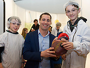 27/11/2016 REPRO FREE:  <br /> Liam O'Donnell (9) from Oranmore and Paul Schuler (11) from Menlopictured with Ronan Rogers, Director of R&D, Medtronicenjoy the Medtronic ExhibitioninNUI Galway as part of the Galway Science & Technology Festival.  <br /> Photo: Andrew Downes, Xposure.