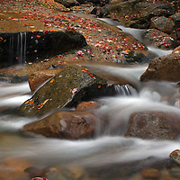 Scenic nature photography images of this picturesque New England fall foliage and cascade long exposure photography scenery at Fume Brook from the Franconia Notch State Park in the White Mountains region of New Hampshire are available as museum quality photography prints, canvas prints, acrylic prints or metal prints. Prints may be framed and matted to the individual liking and decorating needs:<br />