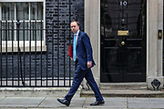 Health Secretary Matt Hancock leaves Downing Street, London, on Tuesday, Mar 17, 2020 - the day after Prime Minister Boris Johnson called on people to stay away from pubs, clubs and theatres, work from home if possible and avoid all non-essential contacts and travel in order to reduce the impact of the coronavirus pandemic. (Photo/Vudi Xhymshiti)