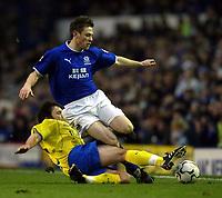 Photo. Aidan Ellis.<br /> Everton v Birmingham City.<br /> FA Barclaycard Premiership.<br /> 28/12/2003.<br /> Everton's Gary Naysmith and Birmingham's Damian johnson