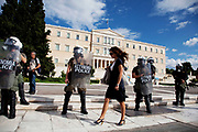 Riot police presence in front of the Greek Parliament building in Syntagma square as students and teachers demonstrate against austerity measures and planned education reforms in Athens. The demonstration is against an education reform bill which aims to improve the operation of universities.