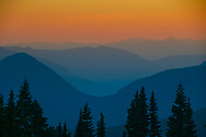 The cascades make a beautiful series of layers at sunset.
