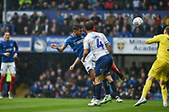 Portsmouth Midfielder, Gareth Evans (26) scores a headed goal to make it 1-1 during the EFL Sky Bet League 1 match between Portsmouth and Wycombe Wanderers at Fratton Park, Portsmouth, England on 22 September 2018.
