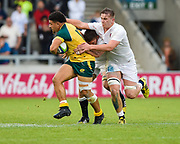 Australia centre Sione Tuipolotu break past England flanker Will Evans during the World Rugby U20 Championship  match England U20 -V- Australia U20 at The AJ Bell Stadium, Salford, Greater Manchester, England on June  15  2016, (Steve Flynn/Image of Sport)