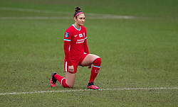 BIRKENHEAD, ENGLAND - Sunday, March 14, 2021: Liverpool's Jade Bailey kneels down (takes a knee) in support of the Black Lives Matter movement before the FA Women's Championship game between Liverpool FC Women and Coventry United Ladies FC at Prenton Park. Liverpool won 5-0. (Pic by David Rawcliffe/Propaganda)
