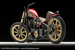 """""""Today Chopper"""", a red hardtail shovelhead, built from a Harley, by Nick Pensabene in Edgewater, FL. Photographed by Michael Lichter in Sturgis, SD on 7/28/18. ©2018 Michael Lichter."""