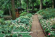 65021-032.13 Shade garden with brick path, hostas, impatiens, and gazebo, St Louis  MO