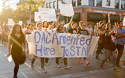 September 5, 2017 - Santa Ana, California, U.S - Hundreds took to the street of downtown Santa Ana to protest the removal of DACA on Tuesday. (Credit Image: © Kevin Warn via ZUMA Wire)