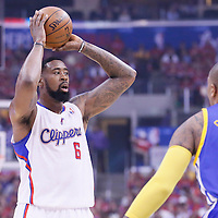 21 April 2014: Los Angeles Clippers center DeAndre Jordan (6) looks to pass the ball during the Los Angeles Clippers 138-98 victory over the Golden State Warriors, during Game Two of the Western Conference Quarterfinals of the NBA Playoffs, at the Staples Center, Los Angeles, California, USA.
