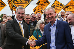 April 29, 2017 - Leeds, West Yorkshire, UK - Leeds, UK. Liberal Democrat leader Tim Farron speaks at a campaign rally at Beckett Park in Leeds with the Lib Dem MP for Leeds North West Greg Mulholland. (Credit Image: © Ian Hinchliffe/London News Pictures via ZUMA Wire)