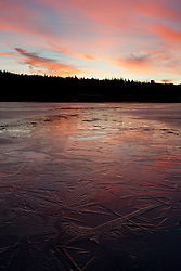 """Frozen Prosser Reservoir Sunset 3"" - A colorful sunset photograph of an icy frozen over Prosser Reservoir in Truckee, CA."