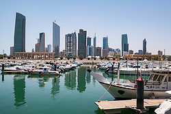 Skyline of CBD Central Business District from Souq Sharq harbour  in Kuwait City, Kuwait