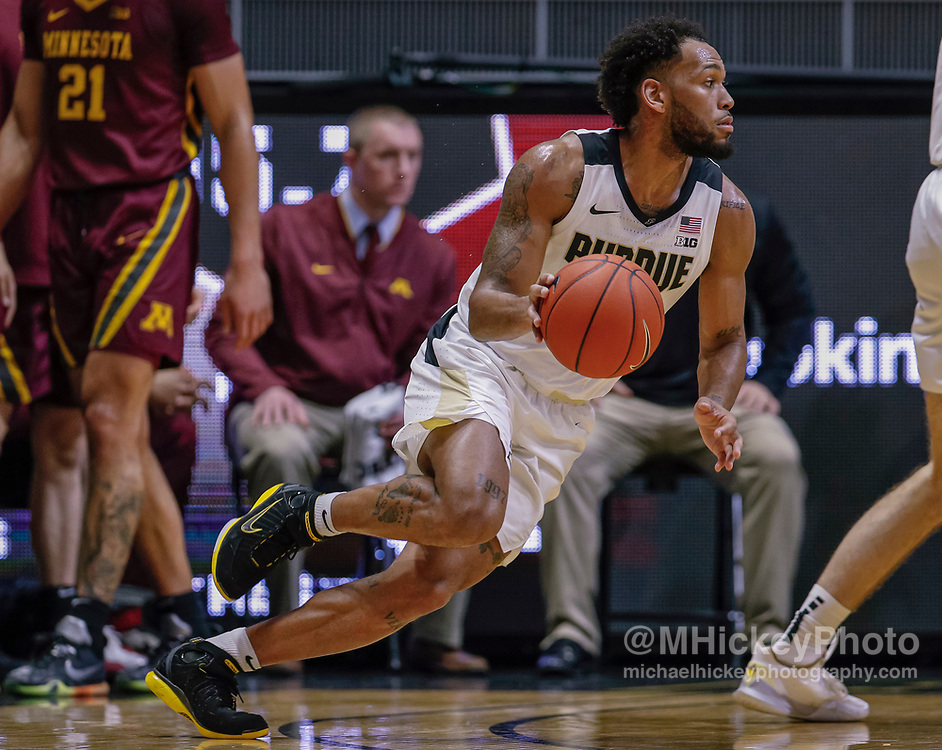WEST LAFAYETTE, IN - JANUARY 02: Jahaad Proctor #3 of the Purdue Boilermakers drives to the basket during the game against the Minnesota Golden Gophers at Mackey Arena on January 2, 2020 in West Lafayette, Indiana. (Photo by Michael Hickey/Getty Images) *** Local Caption *** Jahaad Proctor