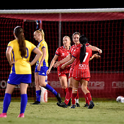 BRISBANE, AUSTRALIA - APRIL 24:  during the NPL Queensland Senior Women's Round 6 match between Olympic FC and SWQ Thunder Jets on April 24, 2021 in Brisbane, Australia. (Photo by Patrick Kearney)