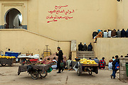 On friday prayers overspill from the mosques and into the streets of Meknes