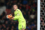 Jack Butland, the Stoke city goalkeeper looks on. Premier league match, Stoke City v Manchester City at the Bet365 Stadium in Stoke on Trent, Staffs on Monday12th March 2018.<br /> pic by Andrew Orchard, Andrew Orchard sports photography.