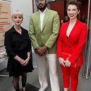 """18.05.2018.          <br /> More than 500 people attended the flagship event of the inaugural Unwrap LSAD Fashion Festival in Limerick.<br /> <br /> Pictured at the event were, Aoife Lee, Ashoka Bhoopadhy and Una Cahill.<br /> <br /> The Limerick School of Art & Design, LIT, Fashion Design Graduate Exhibition and launch of the """"The Fashion Film"""" at Limerick City Gallery of Art, in partnership with EVA International, attracted hundreds of people from the world of fashion. <br /> <br /> A total of 27 fashion graduates presented their designs alongside the specially commissioned film by fashion stylist and creative director Kieran Kilgallon and videographer Albert Hooi. Picture: Alan Place"""