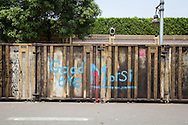 Graffiti on a container used as protection to the presidential palace in Cairo
