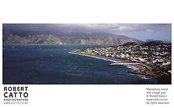 A panoramic view from Seatoun Heights at Seatoun Wharf, Wellington, New Zealand.