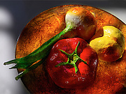 Paper Mache vegetables on gold plate