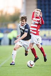 Falkirk's Will Vaulks and Hamilton's Alistair Crawford.<br /> Falkirk 1 v 1 Hamilton, Scottish Premiership play-off semi-final first leg, played 13/5/2014 at the Falkirk Stadium.