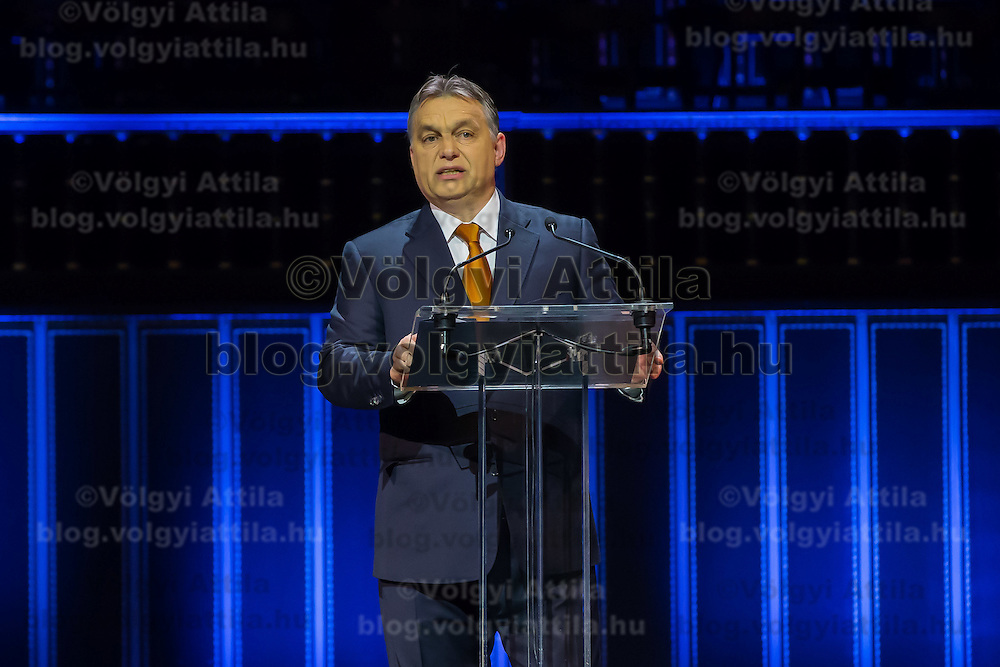 Viktor Orban prime minister of Hungary talks during a Day of Hungarian Culture celebration in Budapest, Hungary on January 21, 2015. ATTILA VOLGYI
