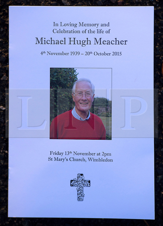 © Licensed to London News Pictures. 13/11/2015. London, UK. The order of service for The funeral of former Labour MP Michael Meacher at St Mary's Church in Wimbledon, south west London.  Michael Meacher, who was a Labour MP in Oldham for over 40 years, served as Minister of State for the Environment in the Tony Blair government.  Photo credit: Ben Cawthra/LNP