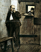 Alfred Dreyfus (c1859-1935) in prison. French army officer of Jewish extraction wrongly accused of handing secret documents to a foreign agent, disgraced, and sent to Devil's Island as a traitor. From 'Le Petit Journal' (Paris January 1895).