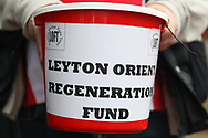 A fan collects money for the Leyton Orient club regeneration fund. EFL Skybet Football League two match, Leyton Orient v Doncaster Rovers at the Matchroom Stadium, Brisbane Road in Leyton, London on Saturday 18th March 2017.<br /> pic by Steffan Bowen, Andrew Orchard sports photography.