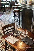 A table set and waiting for customers at the next meal, Paris, France