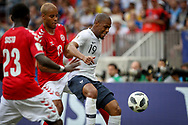 Djibril Sidibe of France and Pione Sisto, Mathias Jorgensen of Denmark during the 2018 FIFA World Cup Russia, Group C football match between Denmark and France on June 26, 2018 at Luzhniki Stadium in Moscow, Russia - Photo Thiago Bernardes / FramePhoto / ProSportsImages / DPPI