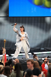 EDITORIAL USE ONLY Support act Charli XCX on stage as Taylor Swift opens her Reputation stadium tour at the Eitihad Stadium, Manchester.
