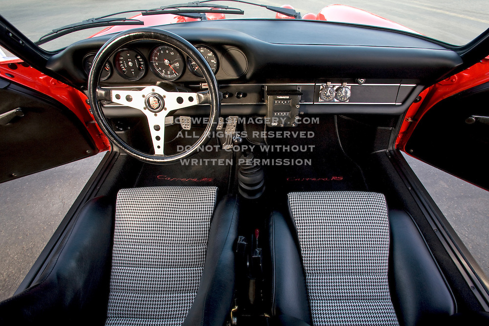 Image of the interior of a 1972 Porsche 911 in Monterey, California, America west coast, property released