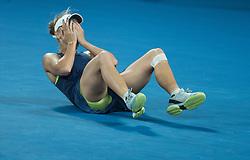 MELBOURNE, Jan. 27, 2018  Denmark's Caroline Wozniacki celebrates after winning the women's singles final match against Romania's Simona Halep at Australian Open 2018 in Melbourne, Australia, Jan. 27, 2018. (Credit Image: © Zhu Hongye/Xinhua via ZUMA Wire)