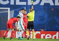 SAN SEBASTIAN, SPAIN - DECEMBER 07, 2017. 2017-18 UEFA Europa League Group L Round 6 football match: Real Sociedad (San Sebastian) - Zenit (St Petersburg) 1 - 3. Real Sociedad's Asier Illarramendi Andoneg (L) and Zenit St Petersburg's Matias Kranevitter (R).