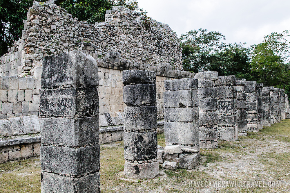 Rows and walls of stone ruins in the Plaza of the Thousand Columns at Chichen Itza Mayan ruins archeological zone in the heart of Mexico's Yucatan Peninsula.