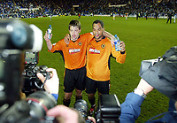 Photograph: Scott Heavey<br />Reading V Wolverhampton Wanderers. 14/05/2003.<br />Joleon Lescott and Paul Butler pose for the cameras after the win during this Natinwide Division one playoff Semi-final, second leg match at the Madjeski Stadium.